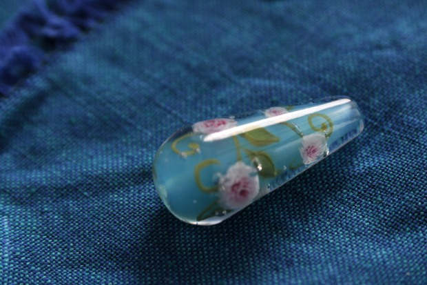 Perle goutte de verre murines pivoines roses verrier d'art au chalumeau bohemian glass beads