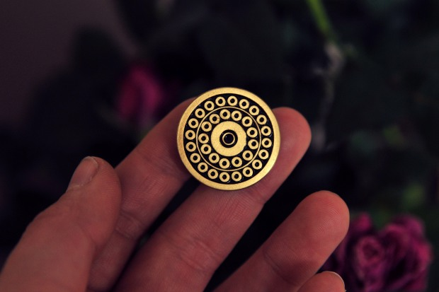 CC torch Face Pin 12 $ yin pinz antique bronze