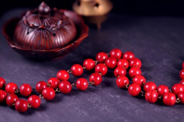 54 pelres en verre rouge meditation zen bien etre mala pour la meditation