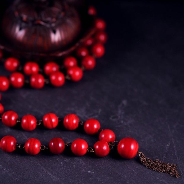 collier inspiration mala tibétain en verre verrier au chalumeau perle de verre neha crea by nathalie crottaz