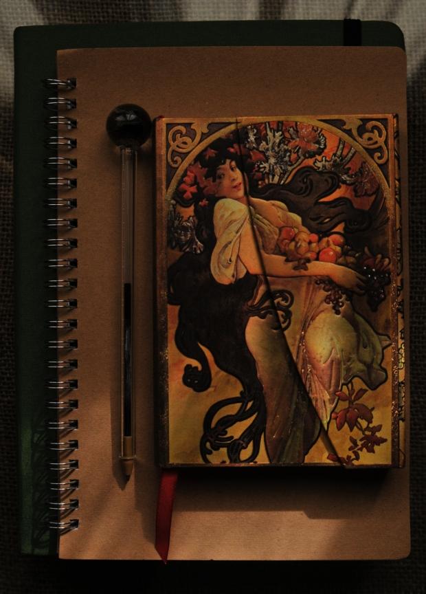 Carnet Art nouveau et Stylo en verre - bohème - calligraphie - correspondance