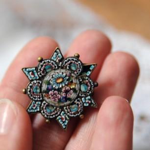 Smalti filati micro mosaic jewelry art victorian broche en micro mosaique